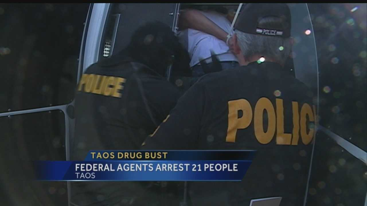 Twenty-one people were arrested Thursday during a multiagency drug bust in Taos.