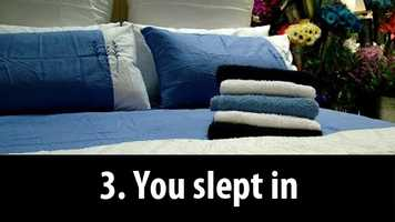 3. You slept in: Sleeping in can throw off your internal body clock and make it difficult to fall asleep the next night.