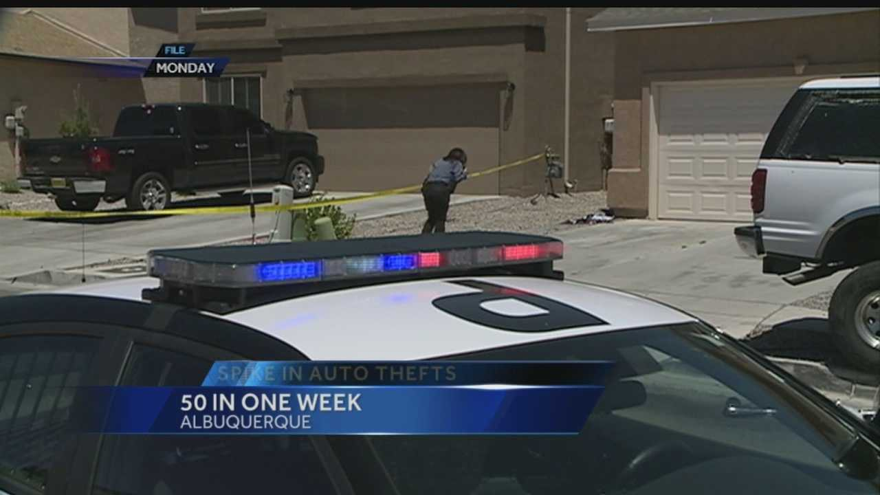 Albuquerque is seeing an increase in car thefts, 50 in the past week.