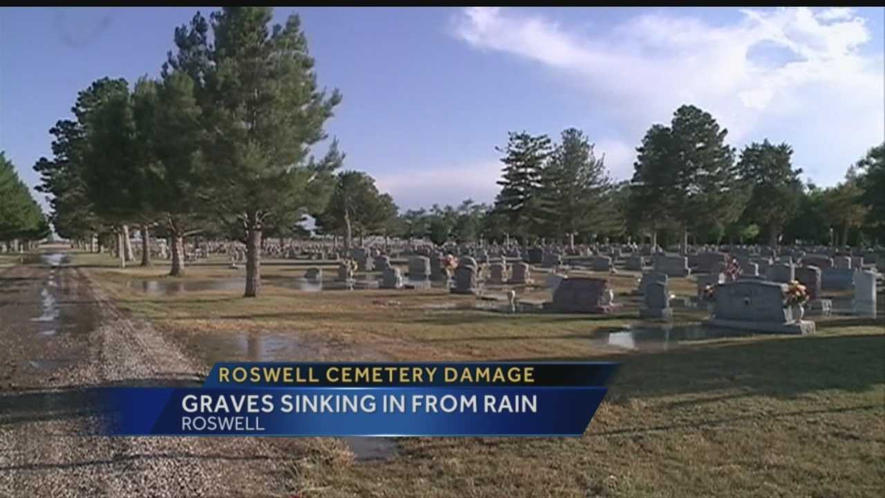 150 graves at a Roswell cemetery need repairs, after this weekends rains caused flooding.