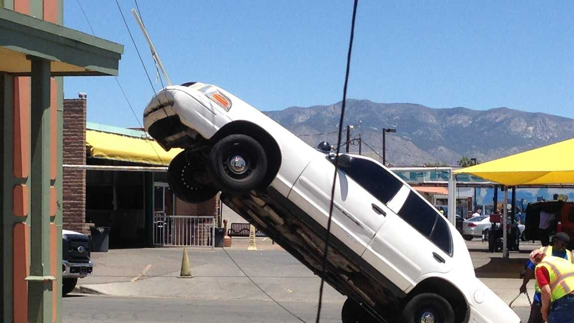 See photos of Tuesday's odd crash in northeast Albuquerque.