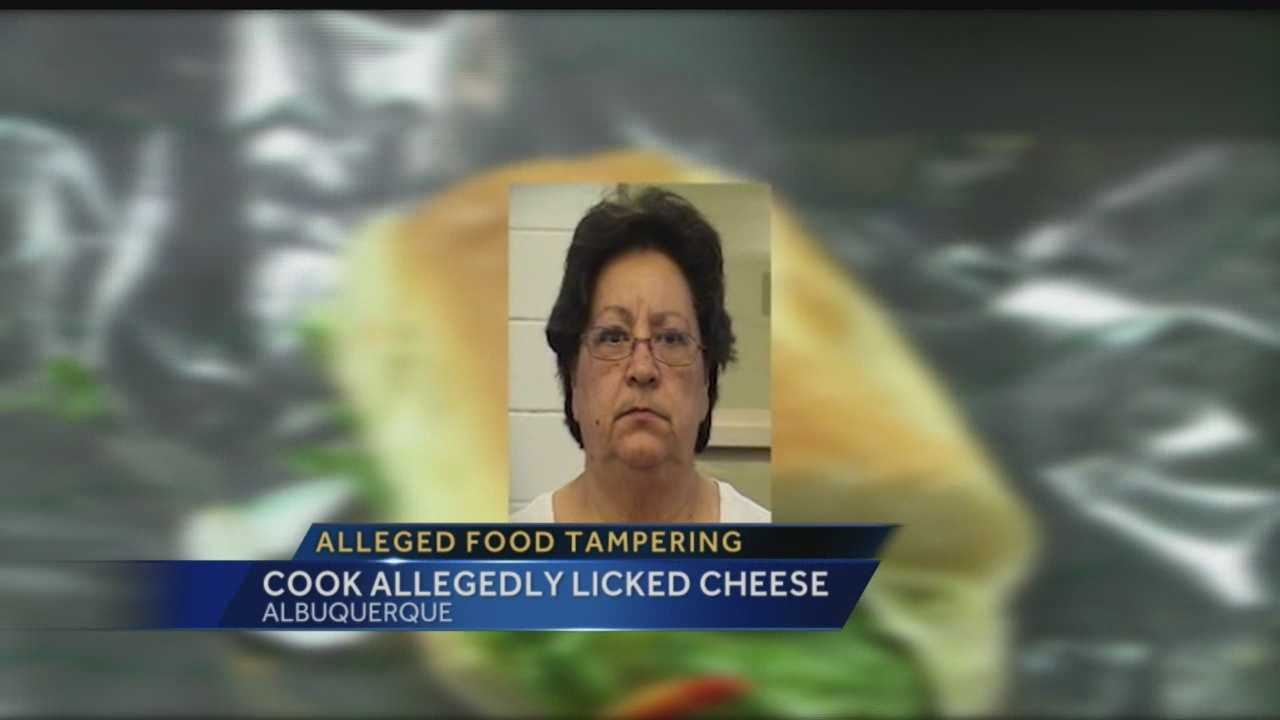 Cook accused of taking pieces of cheese and licking them before putting them on sandwiches and serving them.