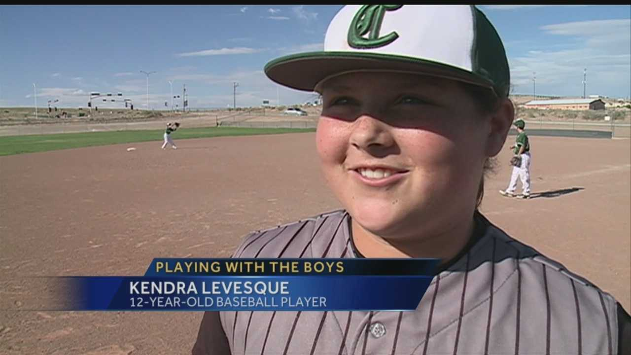 12-year-old Kendra Levesque chooses to play baseball with the boys rather than softball with the girls.