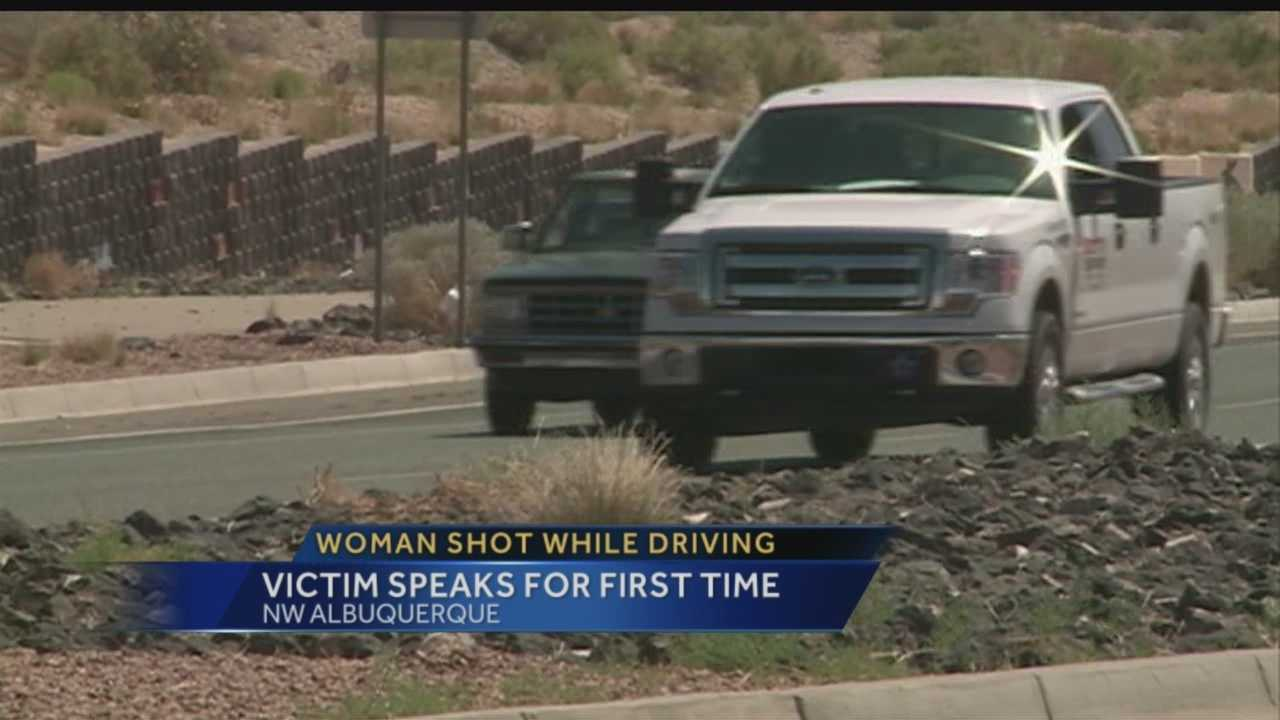 While police are gathering information in the shooting searching for the gunman, a woman shot in the face while driving in Albuquerque is speaking for the first time.