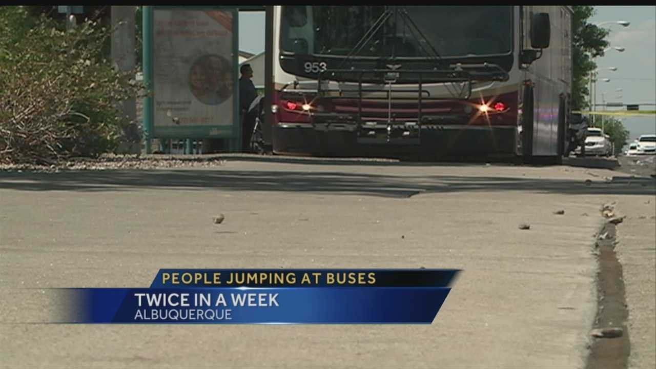 Officials said it was extremely rare, but two people jumped in front of city buses in the span of two days this past week.