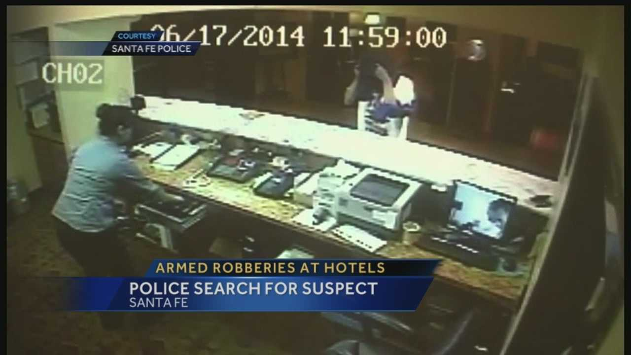 Hotel guests in Santa Fe witnessed several armed robberies in hotel lobbies across the city this week.