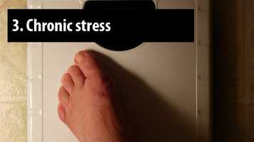 Stress and anxiety cause the production of the hormone cortisol. This hormone makes it more likely that your body will store fat, especially around your waist.