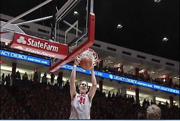 CENTRAL DEFENDER -- Cam Bairstow for in-air dominance. Bairstow, a fan favorite, played basketball for UNM. He hopes to get drafted in this week's NBA draft.
