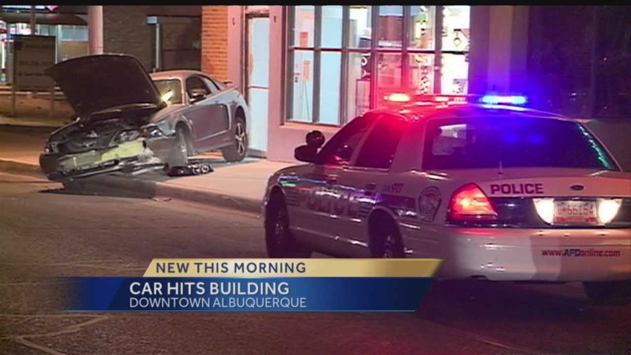 A driver crashed into a building at Central Avenue and Adams Street late Sunday night.