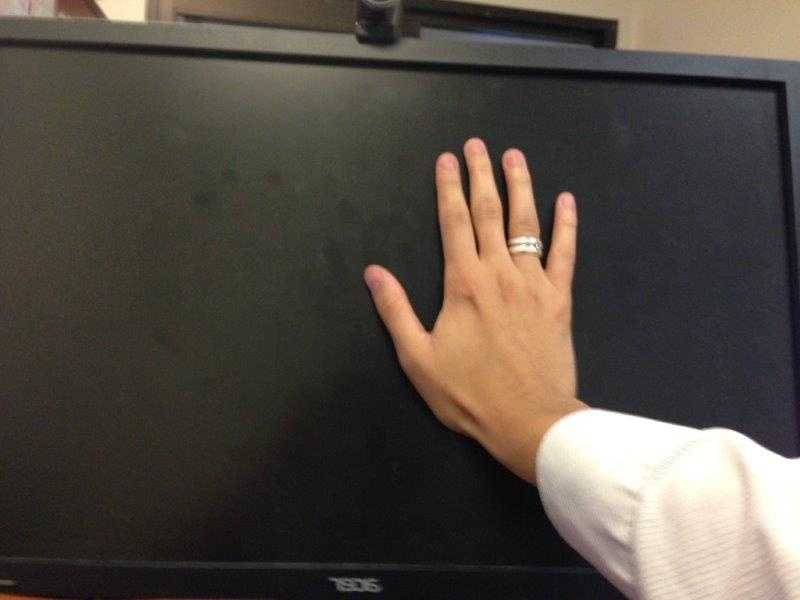 Your computer should be an extended arm's length away from your face. If you can't high five your screen, it's too far away.
