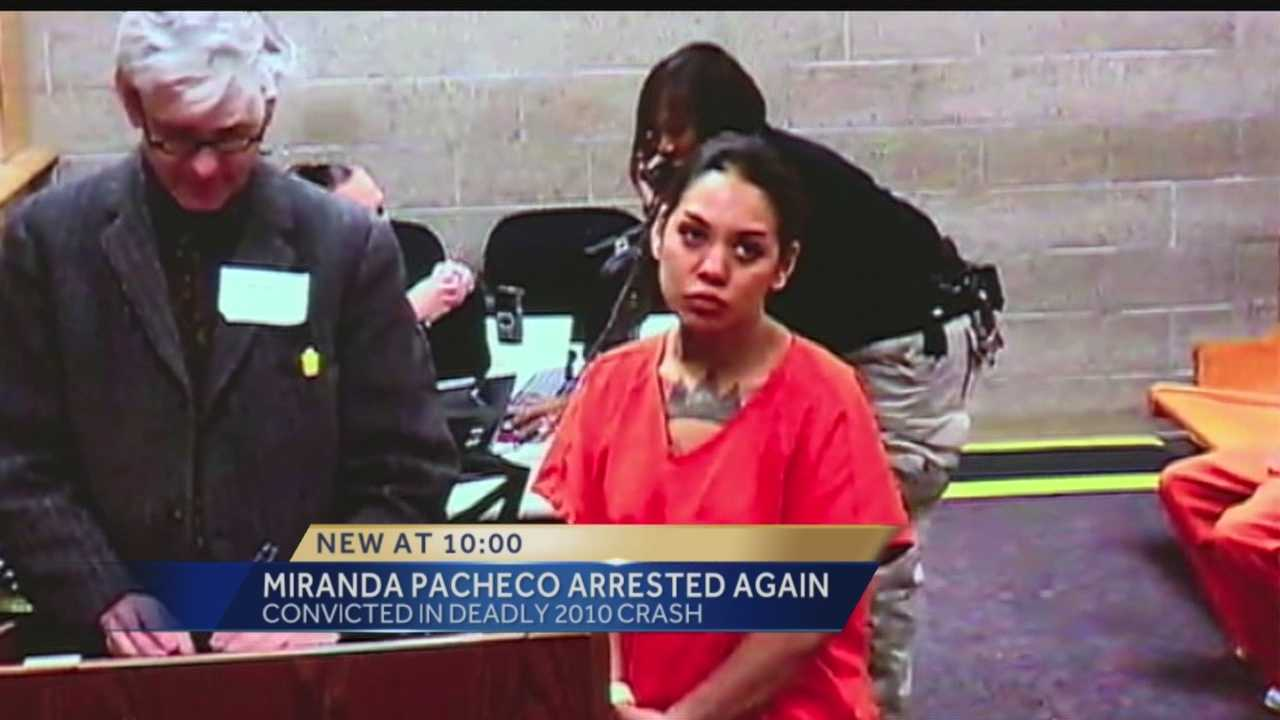 An Albuquerque women who was convicted in a crash that killed a bicyclist is back behind bars.