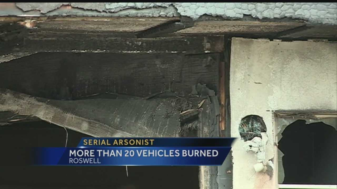 A serial arsonist is on the loose in Roswell, torching more than 20 cars, trucks, and SUVs since November.