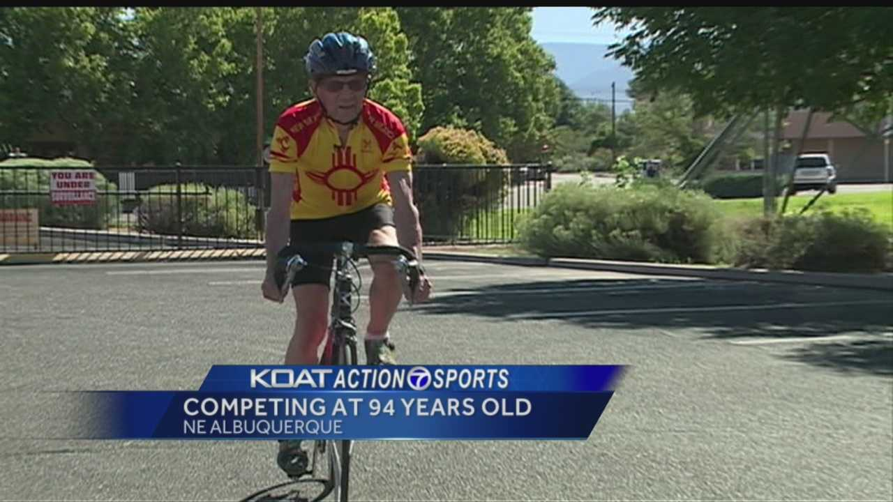 Larry Johnson of Albuquerque was challenged by his grandson on his 90th birthday to ride his bike one mile for every year.