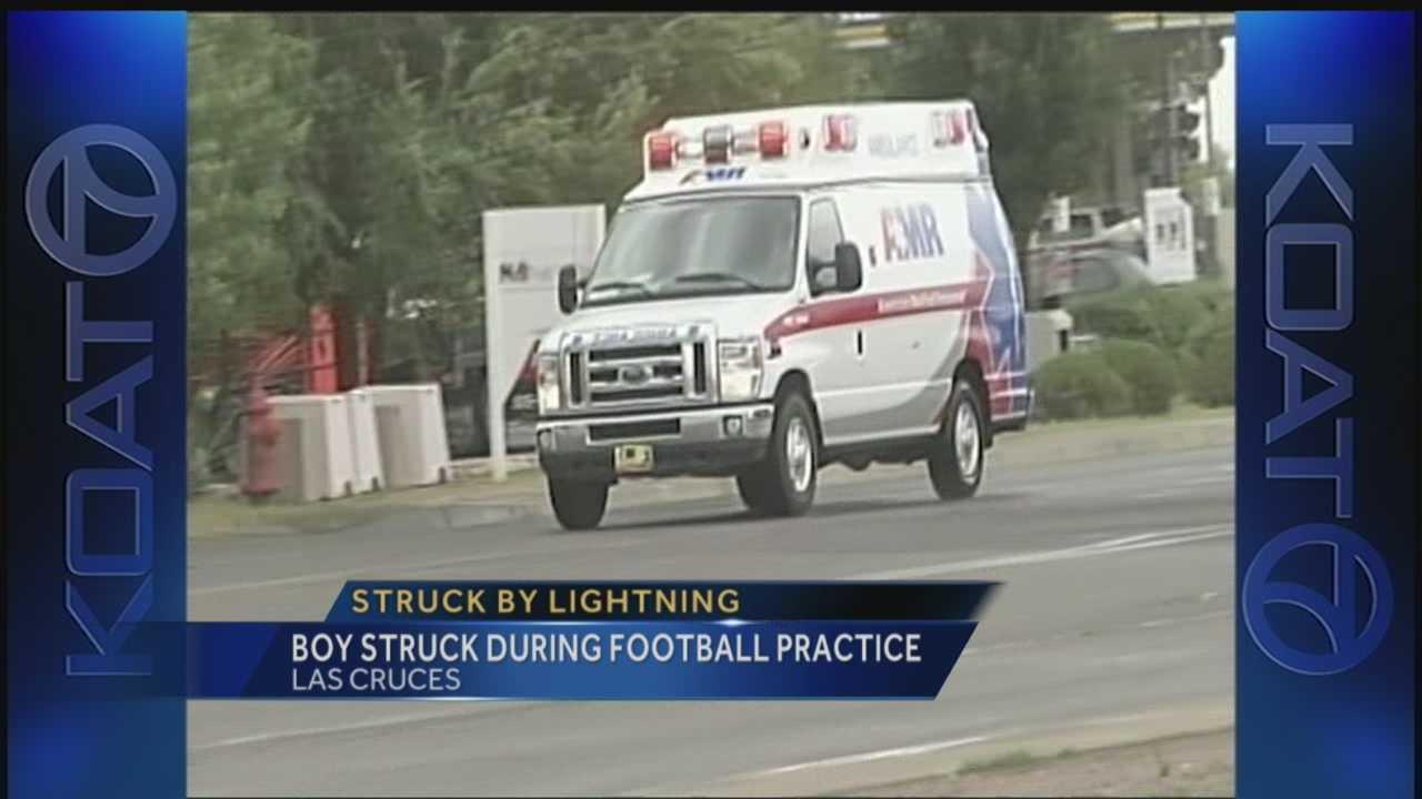 Football player struck by lightning