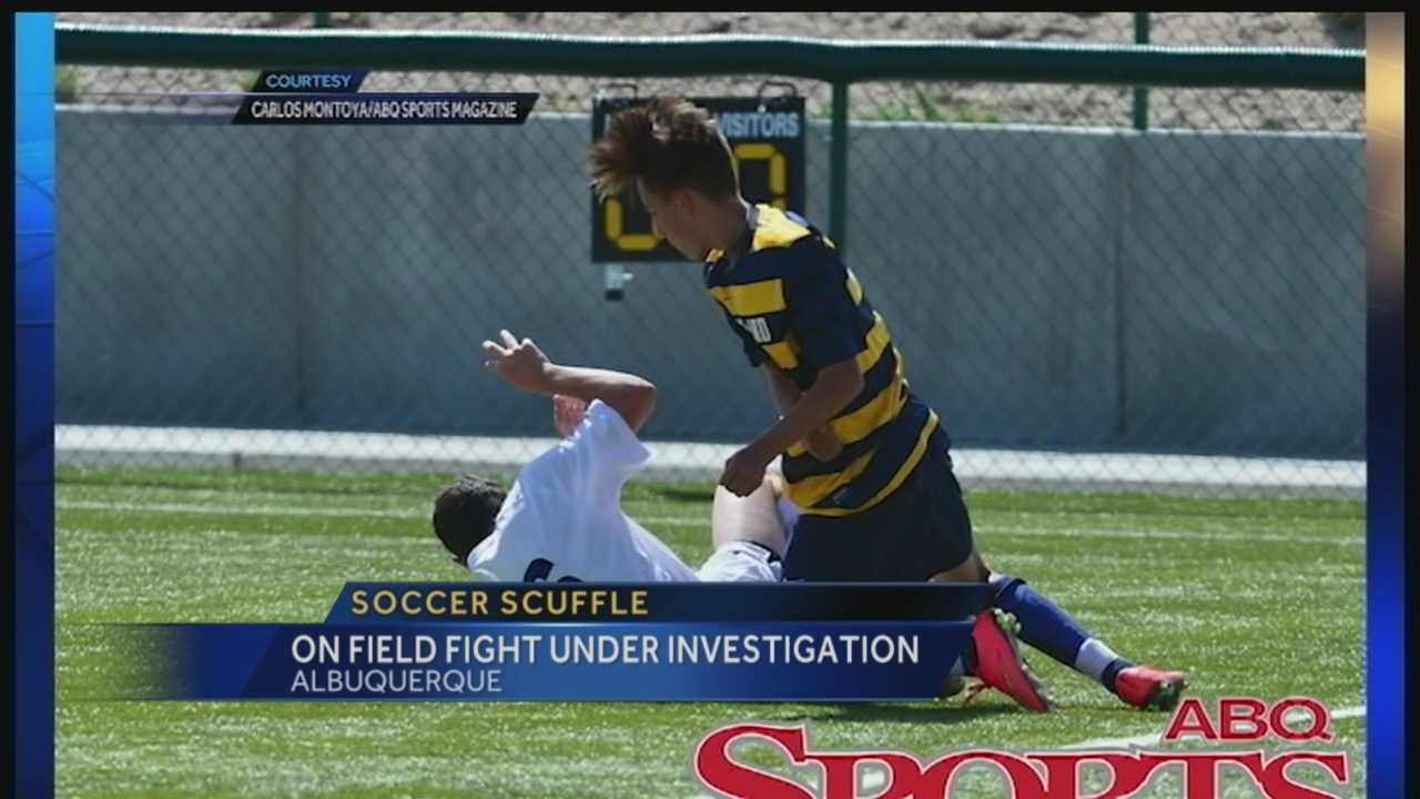A fight during a high school soccer game, landed one player in the hospital.