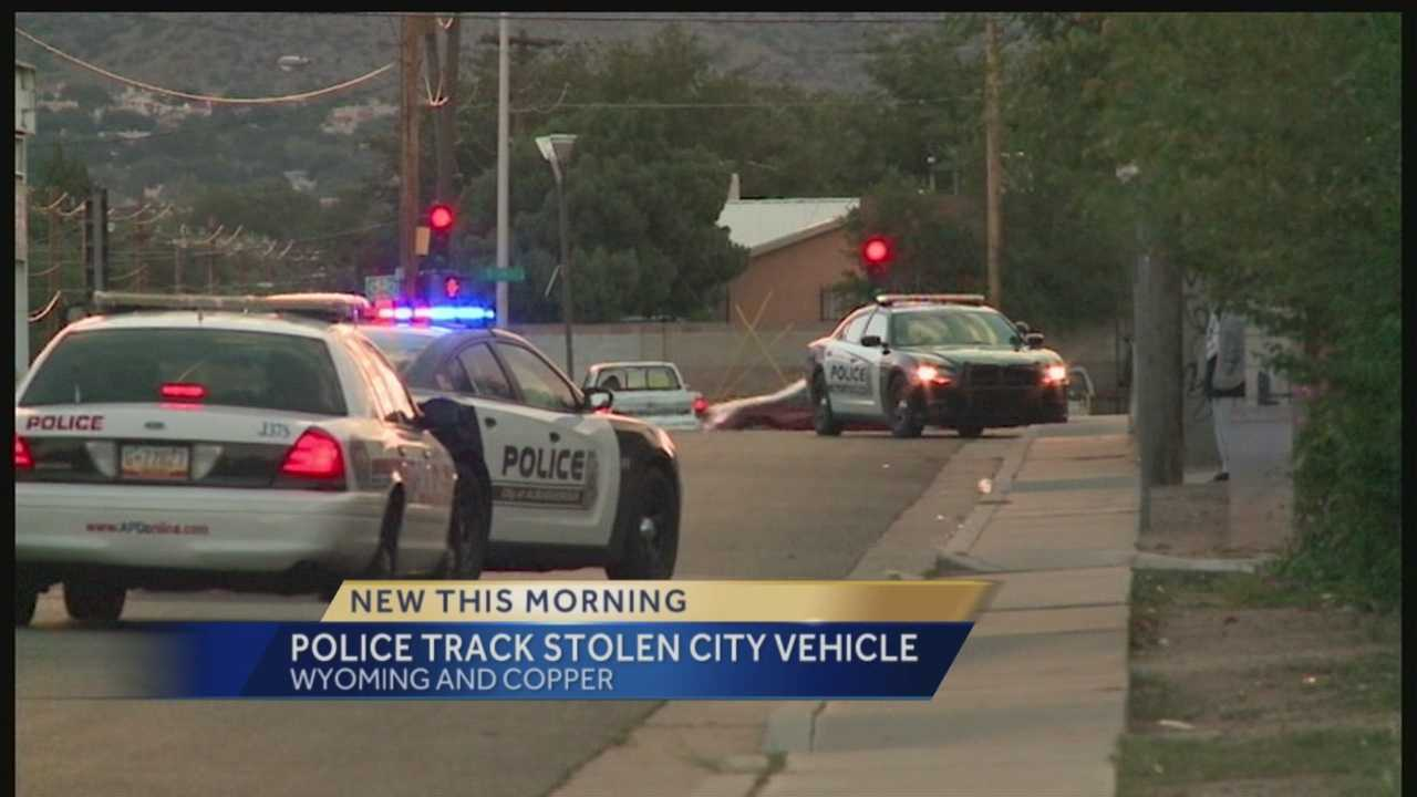 Albuquerque police arrested one person Wednesday morning after someone stole a city-owned vehicle.