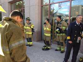 Albuquerque firefighters participated in a stair climb at the Bank of Albuquerque building.