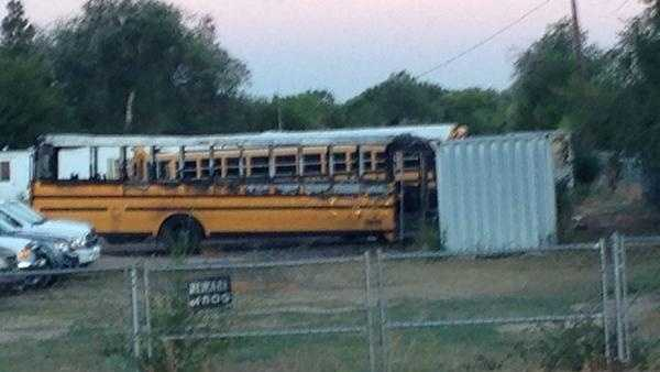 A school bus caught fire Friday Sept. 12, 2014 in a bus parking lot.