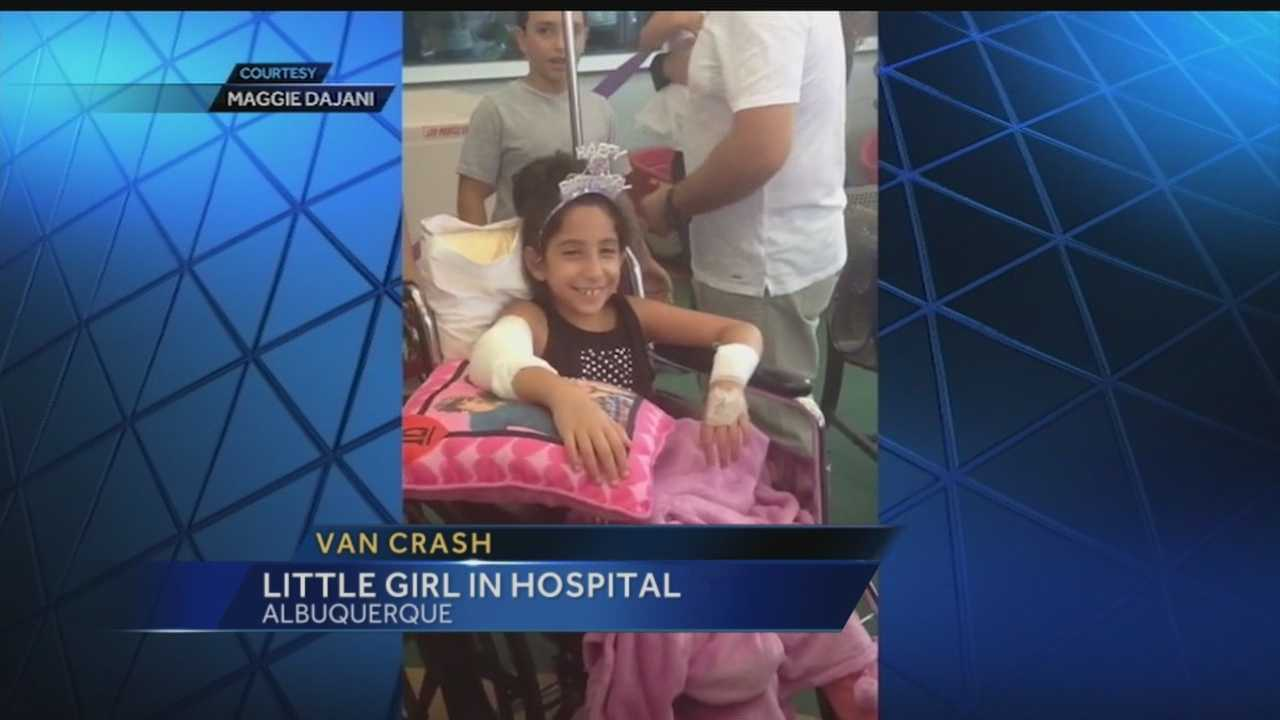 A nine year old girl celebrated her birthday in the hospital today. She's one of six girls and their moms, who were involved in a terrible crash, and they blame it on a car rental company.