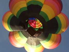 Shot from directly underneath a balloon