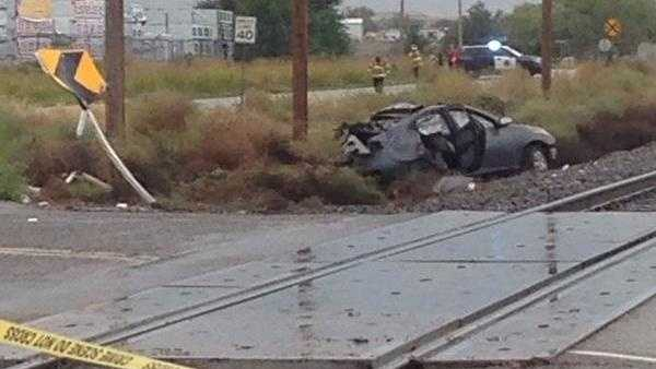 See photos from Friday's Rail Runner crash.
