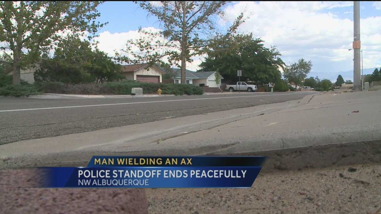 Police say a man armed with an ax wanted them to shoot him this weekend, but they were able to end the situation without anyone getting seriously hurt.
