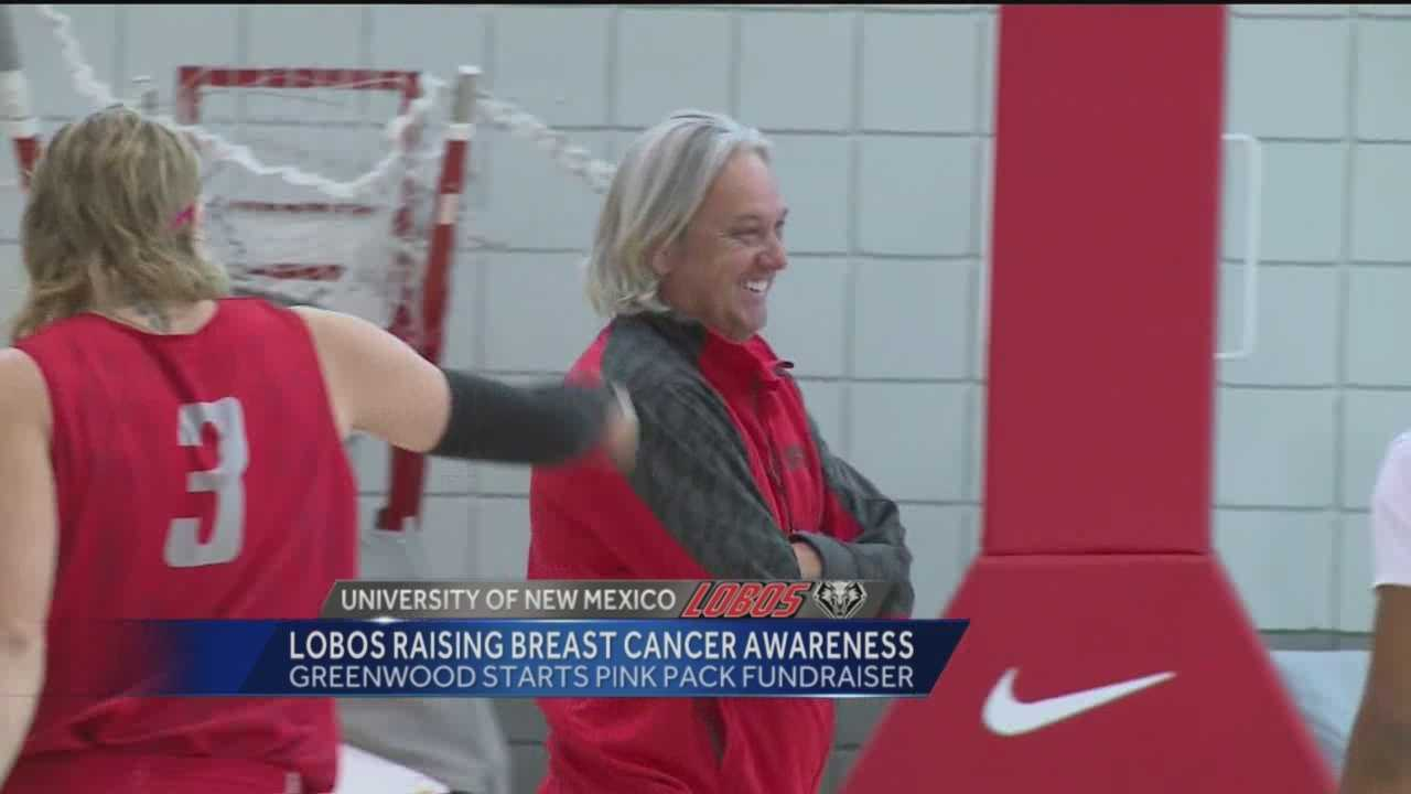 Members of the University of New Mexico men's basketball team have been growing their hair for months in support of breast cancer awareness.