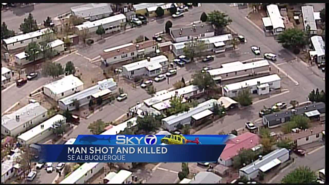 Albuquerque police are investigating after a man was shot and killed in a mobile home Sunday morning on J Street.