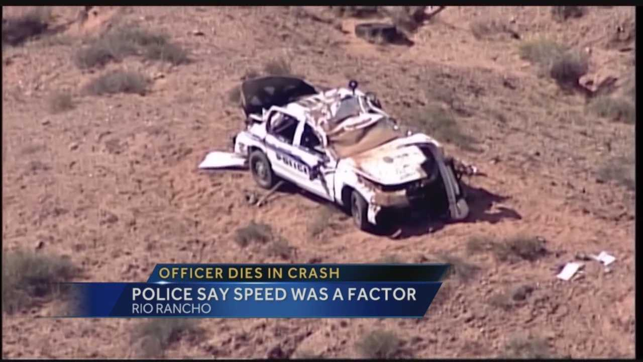 A crash report indicates speed may have been a factor in a single-car crashed that killed a Rio Rancho police officer in October.