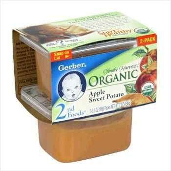 Factory sealed baby food and one plastic baby spoon