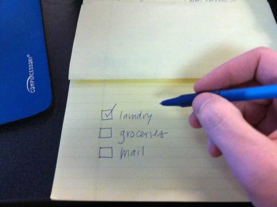Keep two to-do lists. One list is for dry-cleaning and other things. This can be as long as you'd like, but the site suggests keeping it out of site. The other is for three items you're going to accomplish in the immediate future. Nothing goes on this list until something comes off.