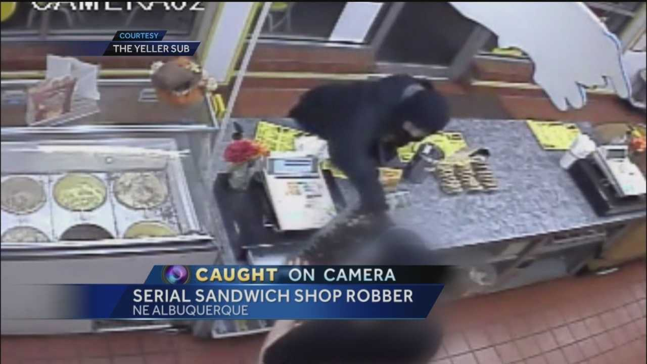 Only on 7, terrifying surveillance video of a serial armed robber.