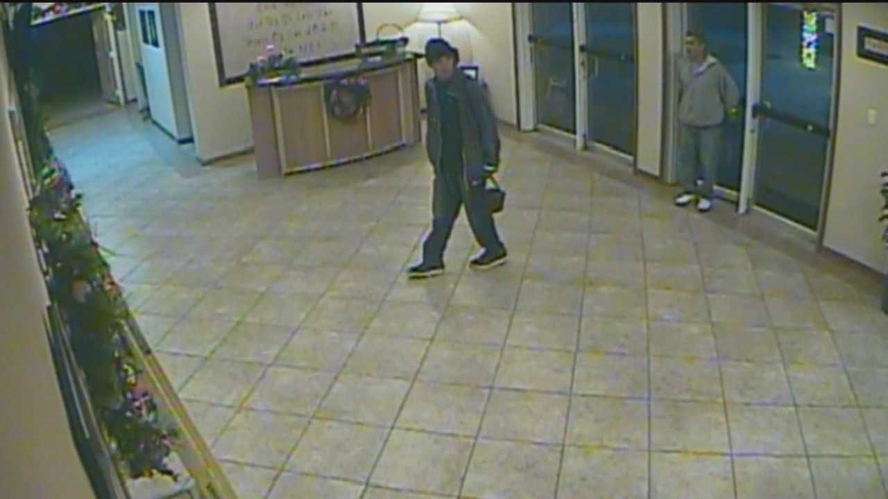 Two church thieves were caught on camera breaking in and stealing expensive laptops from a church.