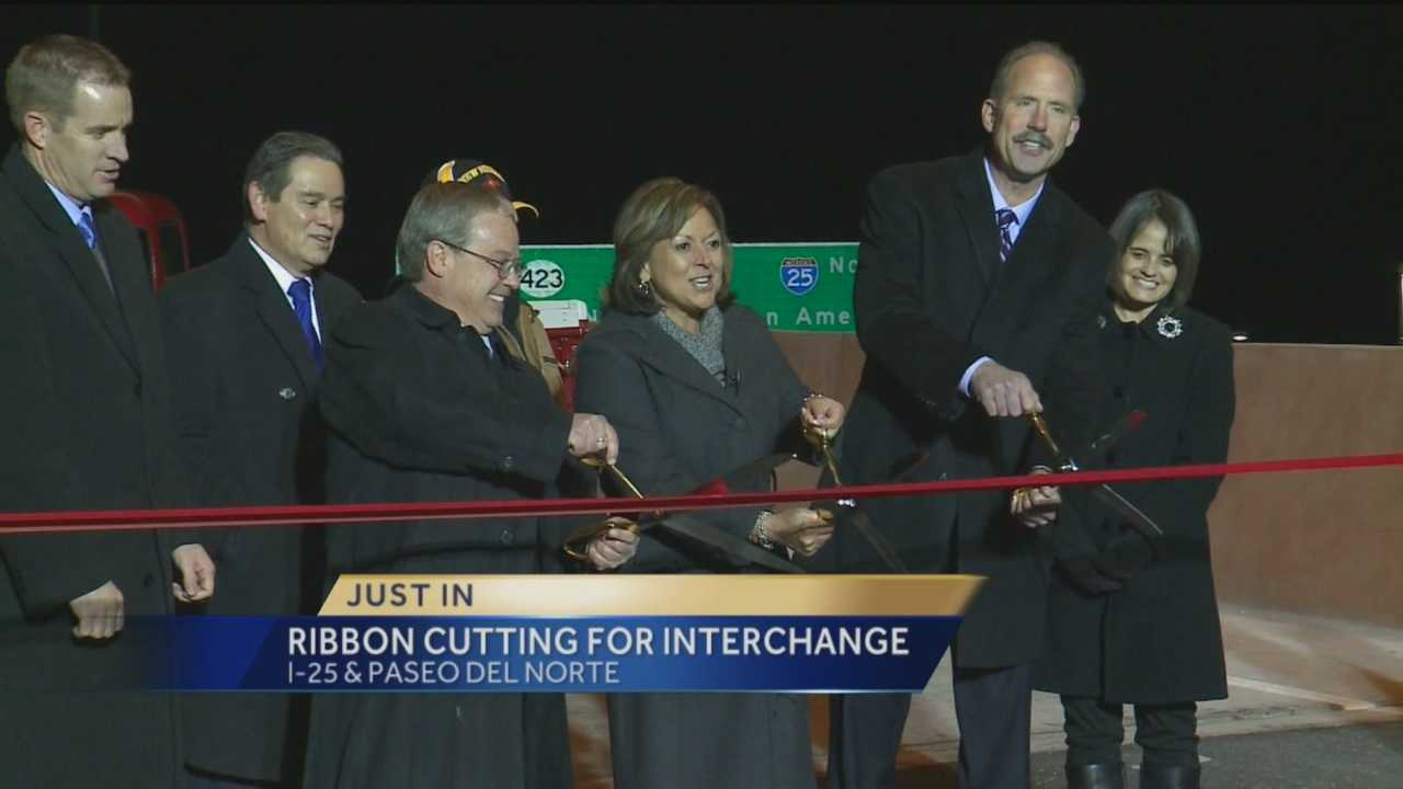 The Paseo interchange opened Monday night, and Gov. Susana Martinez took the first trip over the flyover.