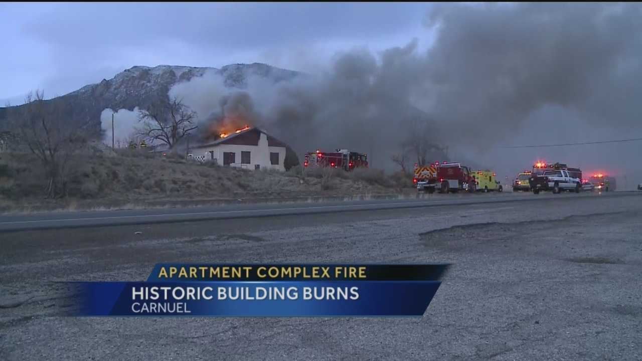 Dozens of firefighters battled an apartment complex fire in Carnuel Thursday evening.