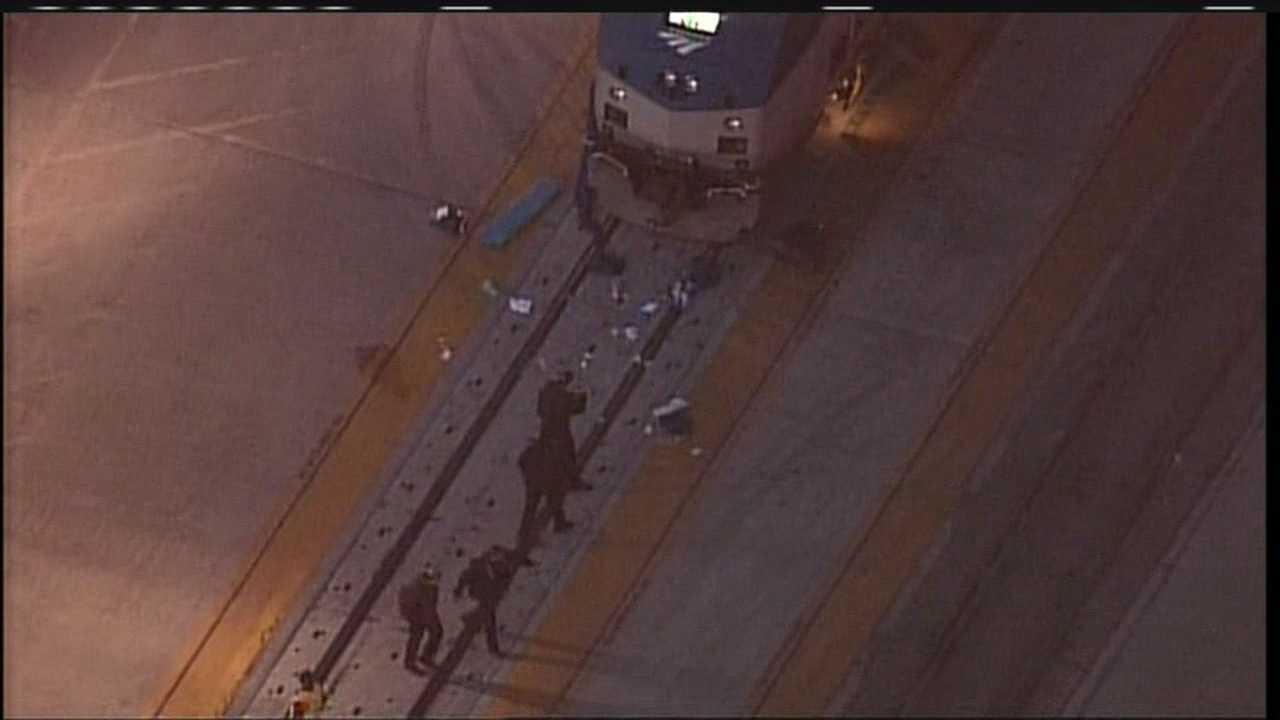 An Amtrak train has hit a pedestrian at the Alvarado Transportation Center in downtown Albuquerque.