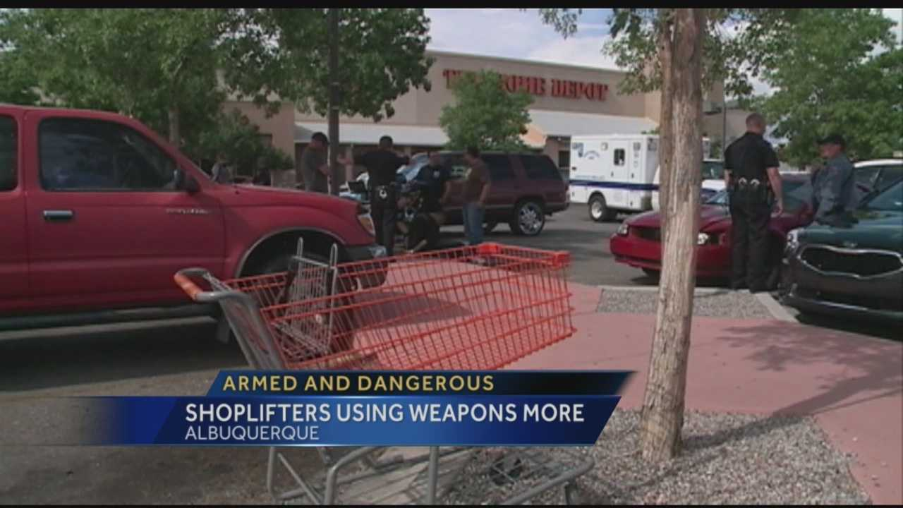 Shoplifting is to be expected during  the holiday season, but Albuquerque police say crooks have upped the ante this month using deadly weapons more often.