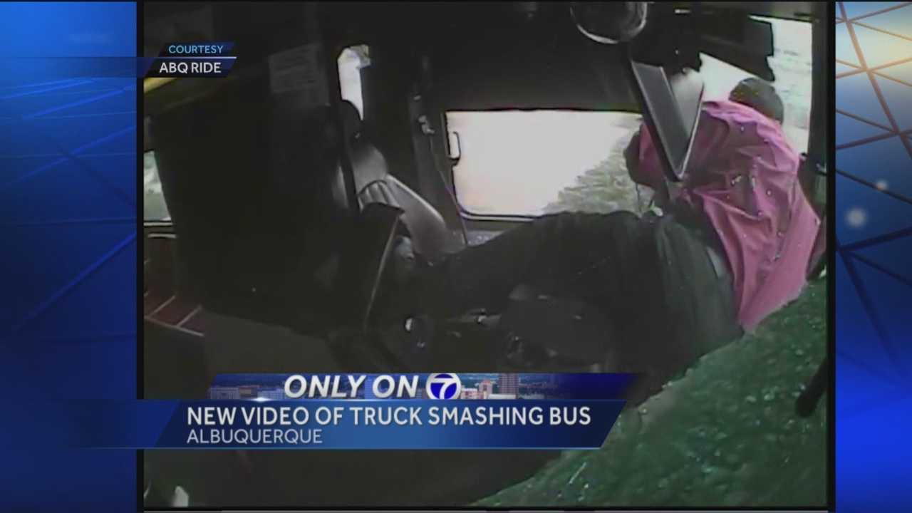 KOAT Action 7 News has acquired video of a truck smashing into an Albuquerque bus this past Friday.