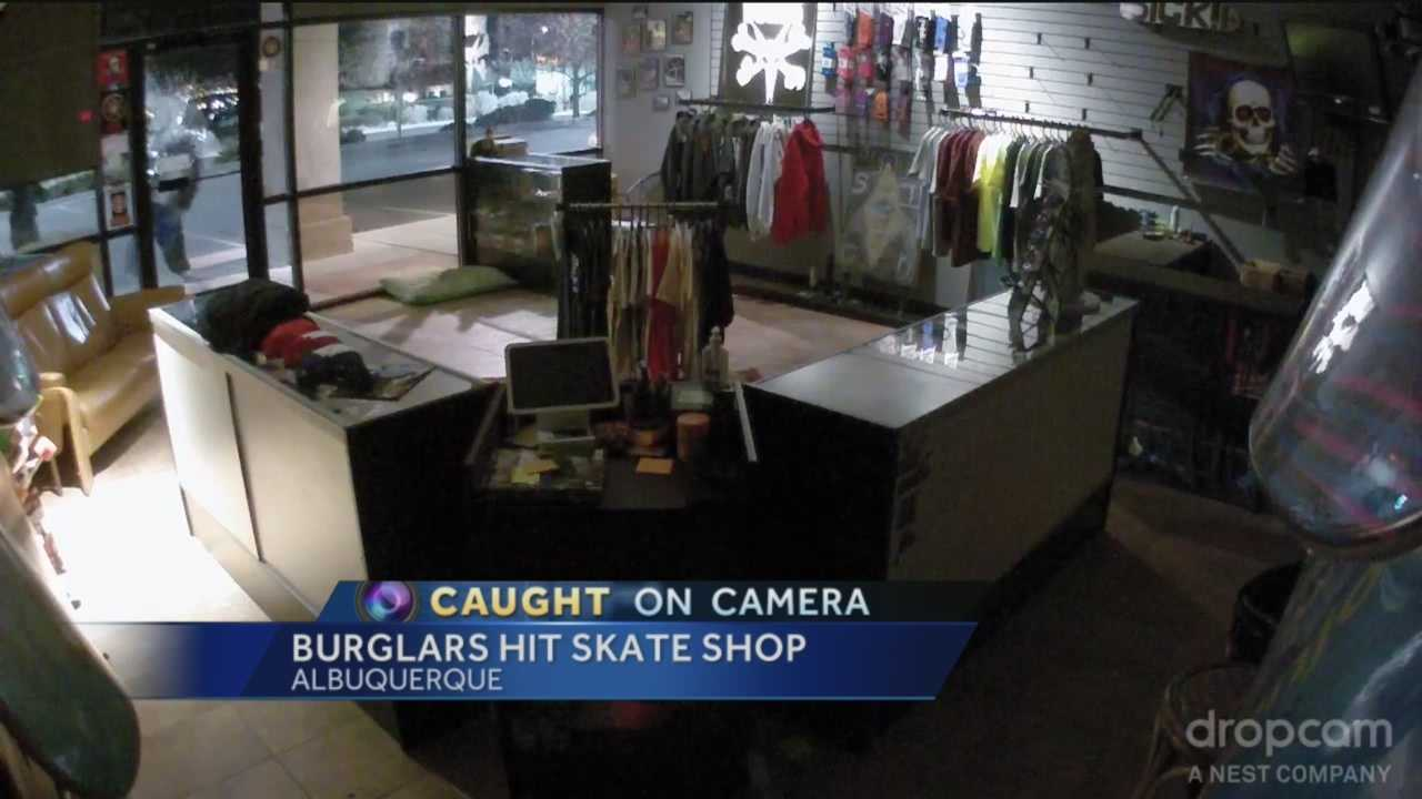 Two thieves smashed their way into an Albuquerque skateboard shop, stealing hundreds of dollars worth of merchandise. It was all caught on camera.