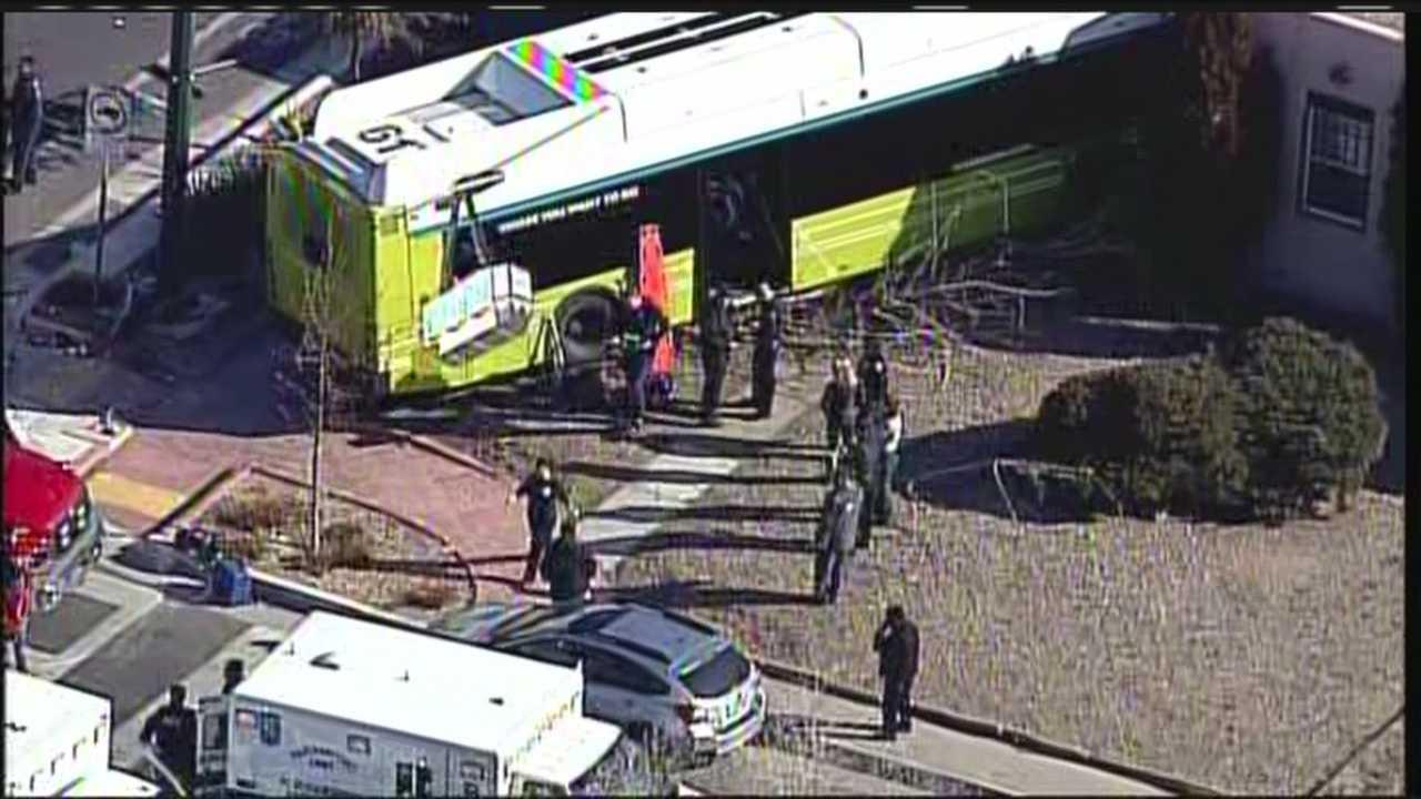 See Sky 7 video of a city bus crashing into a home near Lomas and Girard