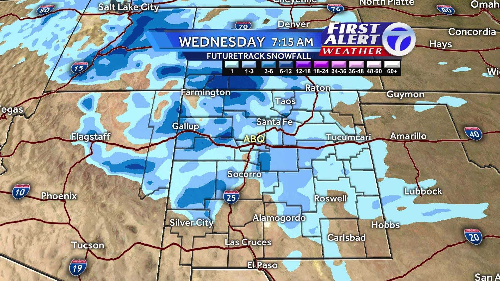 Two winter storms will hit New Mexico over the first few days of the week, and some areas of New Mexico could get a significant amount of snow. Here's how much snow we're forecasting