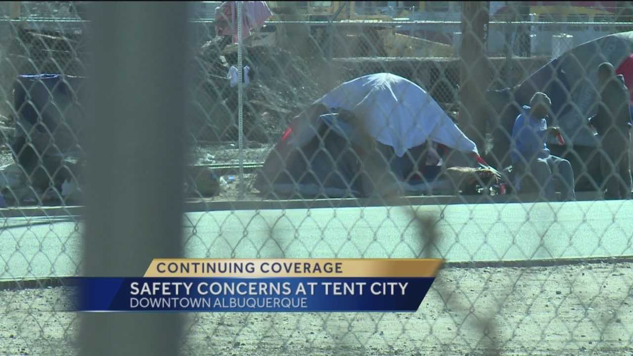 Tent city, a makeshift community for the homeless at Iron Avenue and First Street, is becoming a growing problem in downtown Albuquerque.