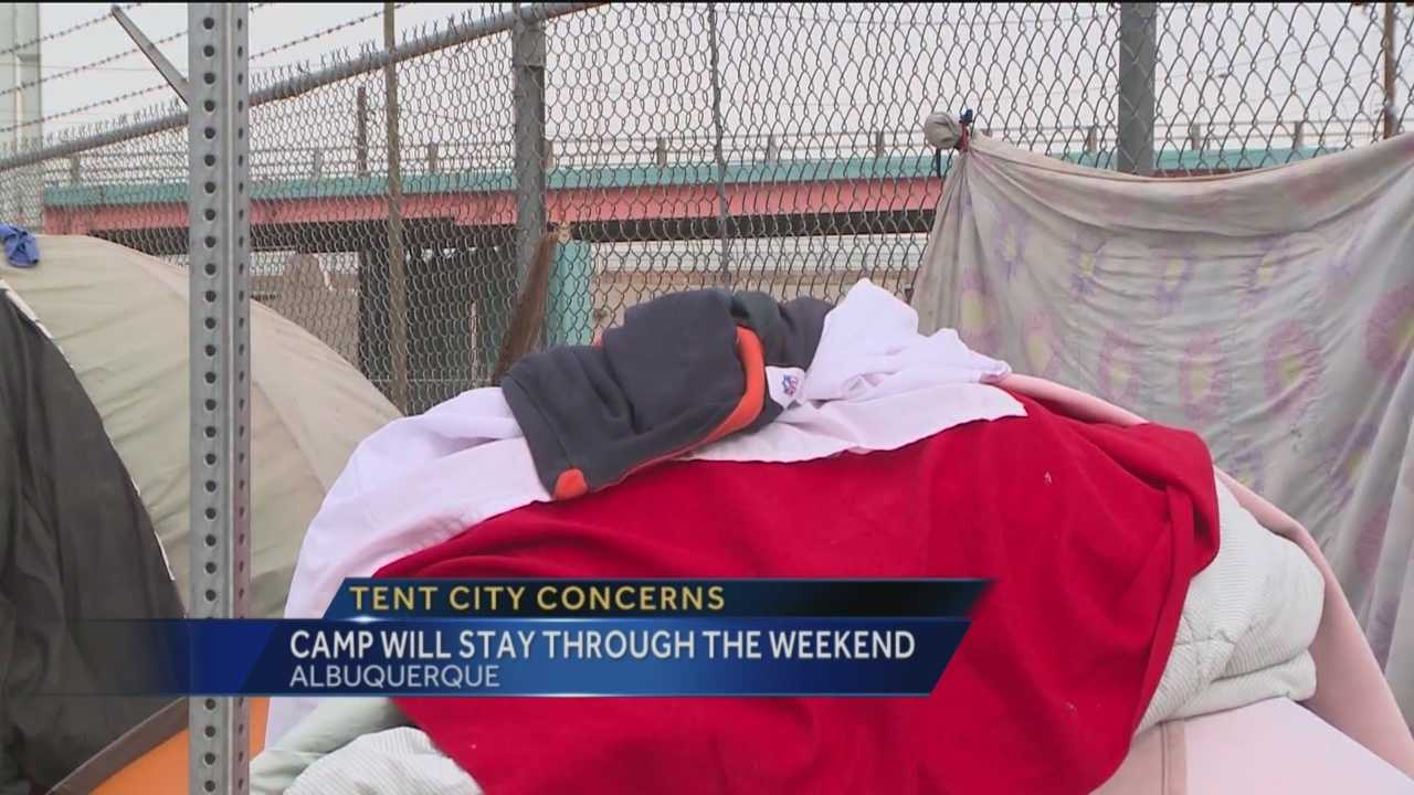 City officials said they hoped to get a downtown homeless camp cleaned up by this week, but now, they say the weather has forced them to wait.