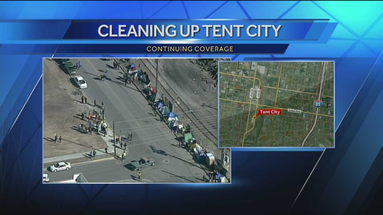 Albuquerque officials took the first step in cleaning up Tent City on Monday.
