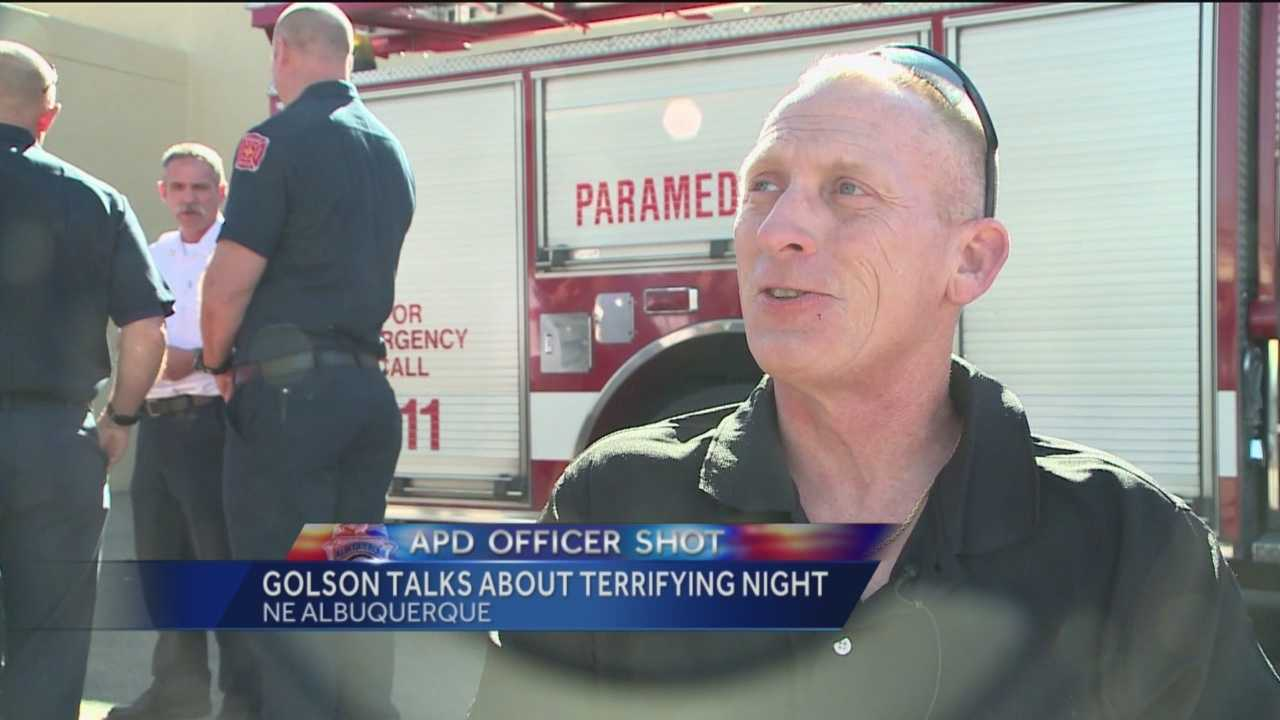 An Albuquerque police officer shot in the line of duty last month says he's thankful for the first responders who saved his life.