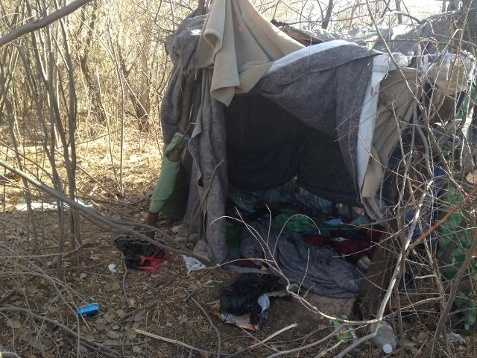 Another noteworthy homeless scamp popped up in Albuquerque's Bosque in March 2013. The area was filled with piles of clothing, trash, pizza boxes, cigarette butts and a makeshift restroom. Officials considered it a major fire hazard, as there were signs of meth cooking. It is illegal to camp in the Bosque.