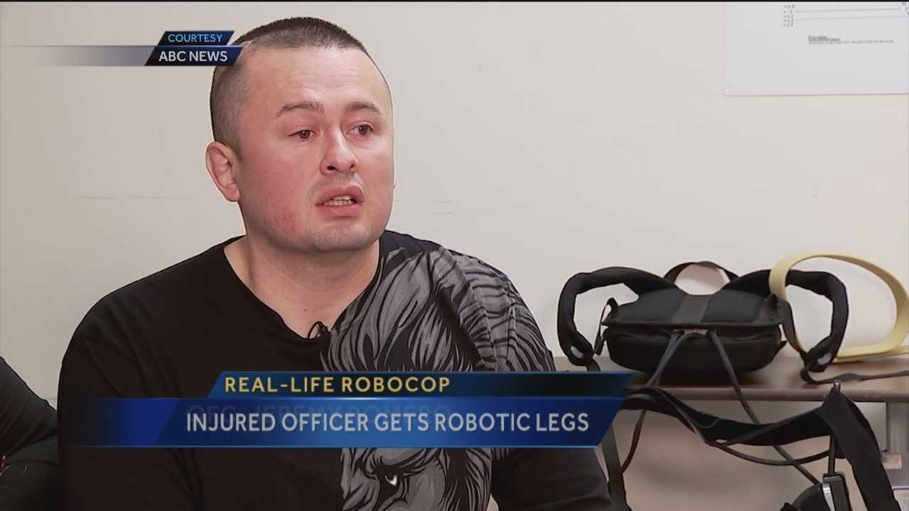 Doctors said Corrales officer Jeremy Romero may never walk again after a crash. Now, he's back on his feet as a real life Robocop.
