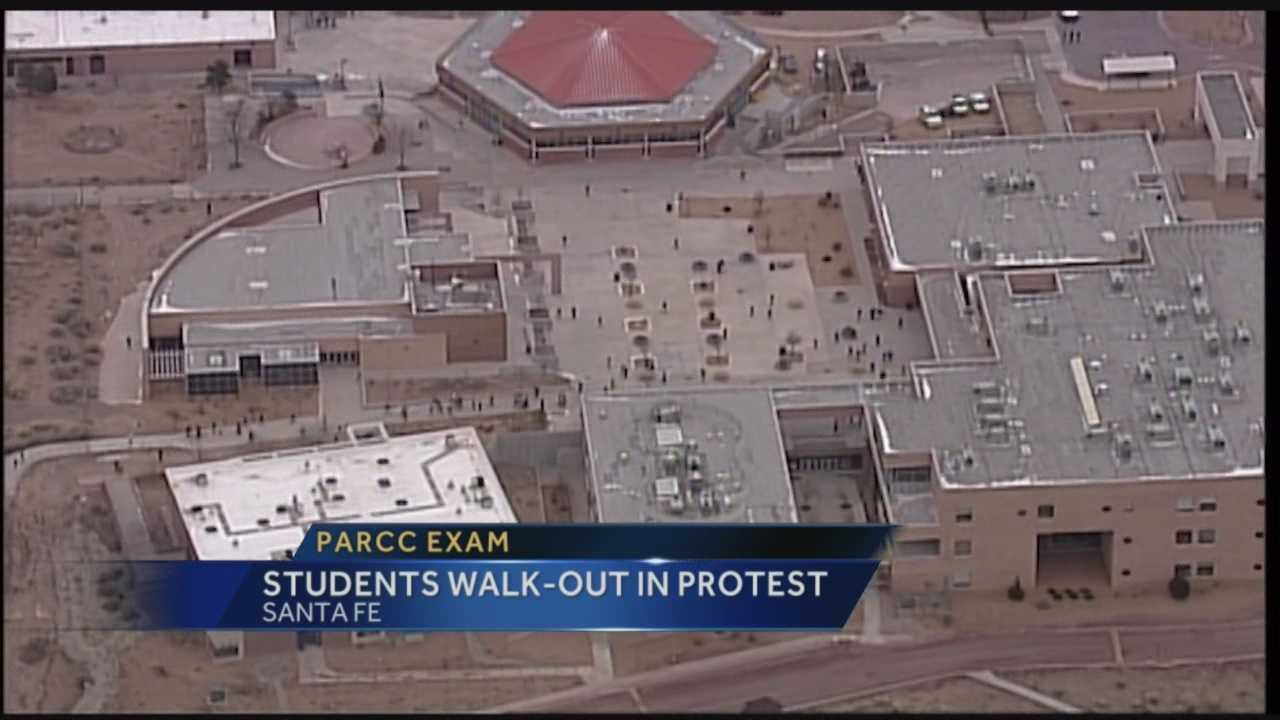 Hundreds of high school students in Santa Fe walked out of class Monday morning in protest of the upcoming PARCC exams.