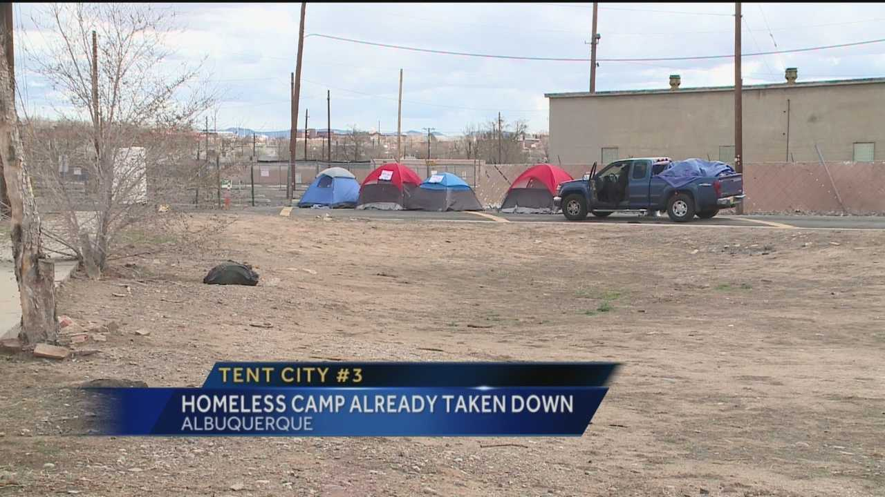 A third Tent City popped up near downtown Albuquerque on Wednesday.