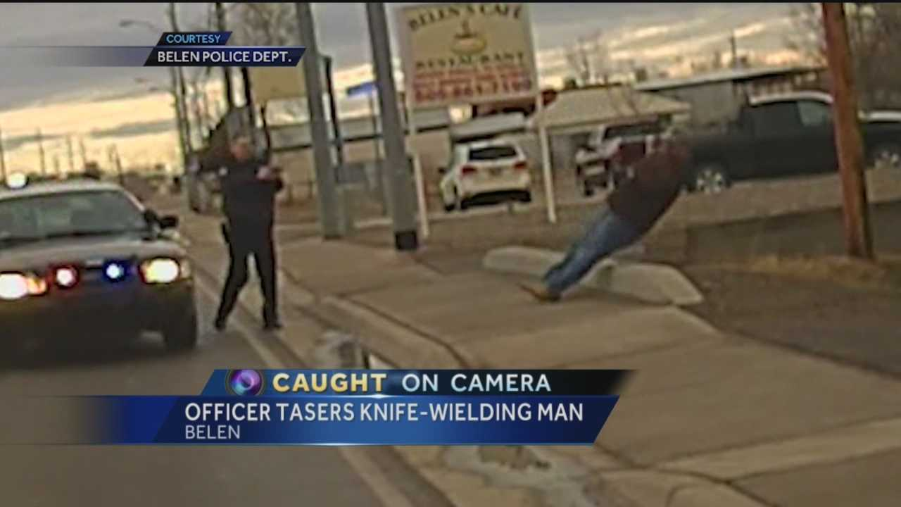 Belen police officers confronted a man with a knife Tuesday morning and it was all caught on police dashcam video.